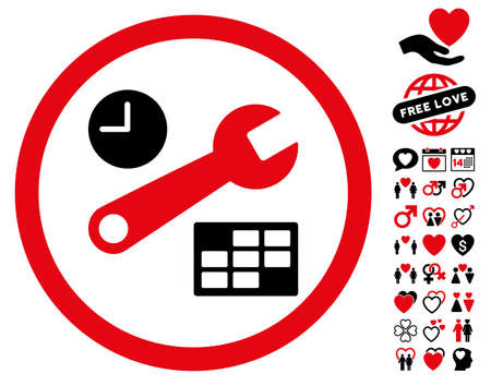 Date And Time Setup pictograph with bonus romantic symbols. Vector illustration style is flat rounded iconic intensive red and black symbols on white background.