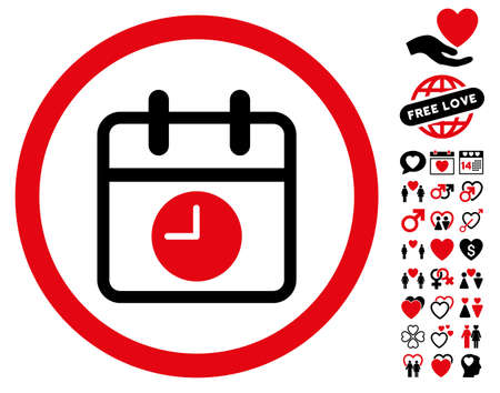 Date And Time pictograph with bonus decoration pictures. Vector illustration style is flat rounded iconic intensive red and black symbols on white background.