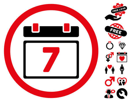 Week pictograph with bonus romantic icon set. Vector illustration style is flat rounded iconic intensive red and black symbols on white background. Stock Photo