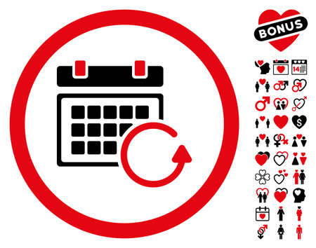 Update Calendar pictograph with bonus decorative images. Vector illustration style is flat rounded iconic intensive red and black symbols on white background.