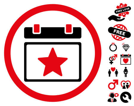 Favourites Day pictograph with bonus lovely images. Vector illustration style is flat rounded iconic intensive red and black symbols on white background.
