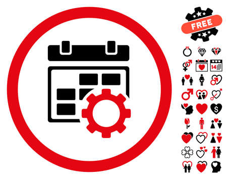 Calendar Settings icon with bonus decoration clip art. Vector illustration style is flat rounded iconic intensive red and black symbols on white background.