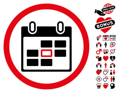 Calendar Day pictograph with bonus marriage images. Vector illustration style is flat rounded iconic intensive red and black symbols on white background.