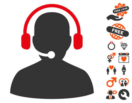 Telemarketing pictograph with bonus decoration pictograms. Vector illustration style is flat iconic symbols for web design, app user interfaces.