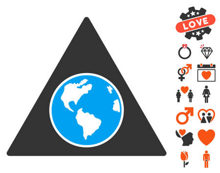 Terra Triangle pictograph with bonus love images. Vector illustration style is flat iconic symbols for web design, app user interfaces.