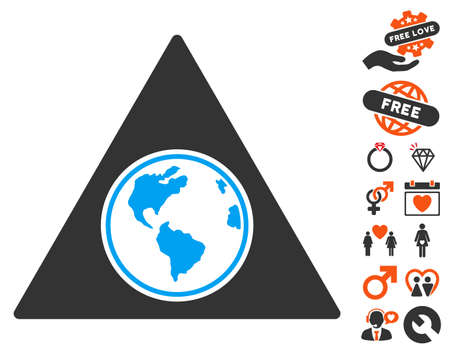 Terra Triangle pictograph with bonus decorative graphic icons. Vector illustration style is flat iconic symbols for web design, app user interfaces.