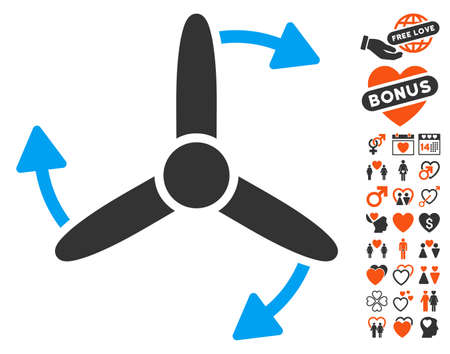impeller: Three Bladed Screw Rotation pictograph with bonus love symbols. Vector illustration style is flat iconic symbols for web design, app user interfaces. Illustration