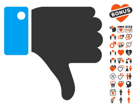 ugly gesture ugly gesture: Thumb Down icon with bonus lovely symbols. Vector illustration style is flat iconic elements for web design, app user interfaces.