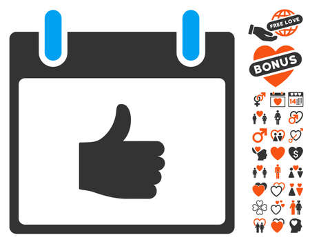 date validate: Thumb Up Calendar Day pictograph with bonus romantic icon set. Vector illustration style is flat iconic symbols for web design, app user interfaces. Illustration