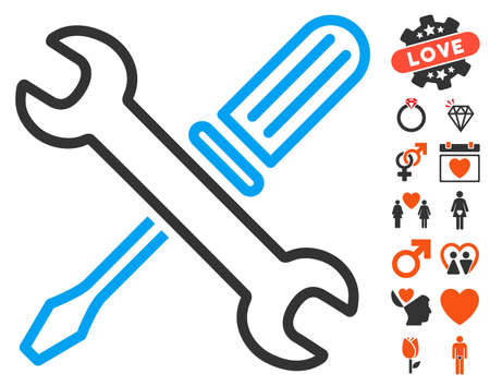 Tuning Tools pictograph with bonus dating pictograms. Vector illustration style is flat iconic elements for web design, app user interfaces.