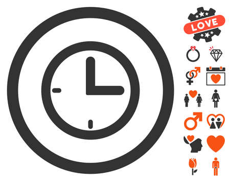 Time pictograph with bonus marriage icon set. Vector illustration style is flat iconic symbols for web design, app user interfaces.