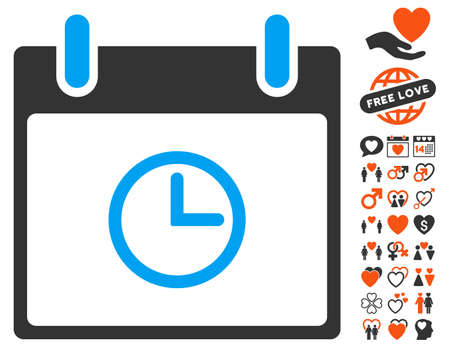 Time Calendar Day icon with bonus decorative icon set. Vector illustration style is flat iconic elements for web design, app user interfaces.