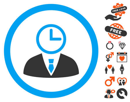 Time Manager pictograph with bonus decoration graphic icons. Vector illustration style is flat iconic symbols for web design, app user interfaces.