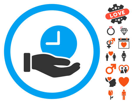 Time Service pictograph with bonus romantic images. Vector illustration style is flat iconic symbols for web design, app user interfaces.