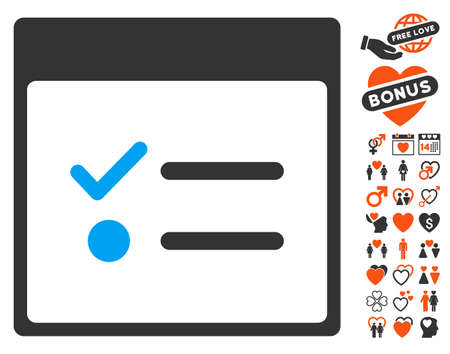 Todo Items Calendar Page pictograph with bonus marriage design elements. Vector illustration style is flat iconic elements for web design, app user interfaces.