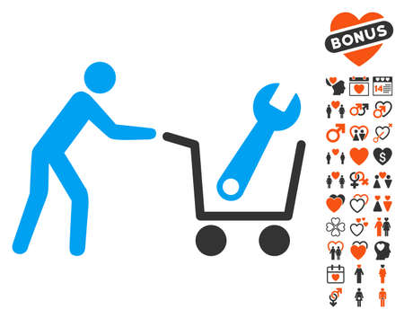 Tools Shopping pictograph with bonus lovely icon set. Vector illustration style is flat iconic symbols for web design, app user interfaces.