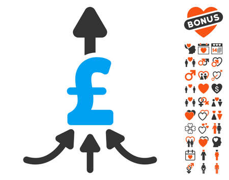 Unite Pound Payments pictograph with bonus valentine symbols. Vector illustration style is flat iconic elements for web design, app user interfaces.