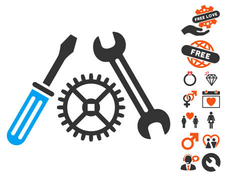 Tuning Service pictograph with bonus passion pictograph collection. Vector illustration style is flat iconic symbols for web design, app user interfaces.