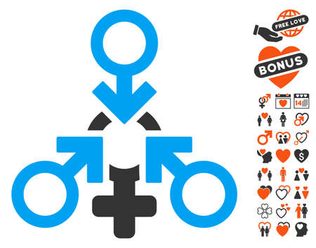 Triple Penetration Sex icon with bonus dating icon set. Vector illustration style is flat iconic elements for web design, app user interfaces.