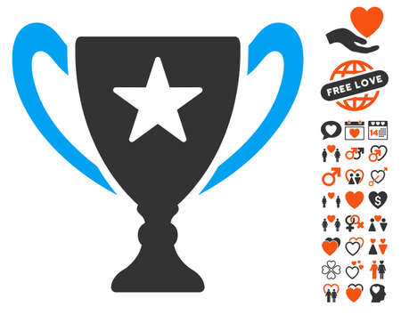 Trophy Cup pictograph with bonus valentine clip art. Vector illustration style is flat iconic symbols for web design, app user interfaces.