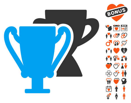 Trophy Cups pictograph with bonus decorative pictograms. Vector illustration style is flat iconic elements for web design, app user interfaces.