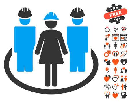 relaciones laborales: Icono de relaciones sociales de trabajador con símbolos románticos de bonificación. El estilo del ejemplo del vector es símbolos icónicos planos para el diseño web, interfaces de usuario de la aplicación.