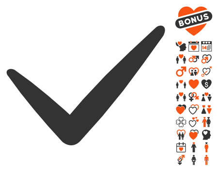 valid: Valid pictograph with bonus passion icon set. Vector illustration style is flat iconic symbols for web design, app user interfaces.