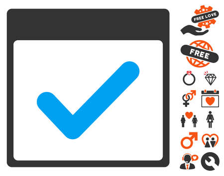 valid: Valid Day Calendar Page icon with bonus dating pictograph collection. Vector illustration style is flat iconic symbols for web design, app user interfaces. Illustration