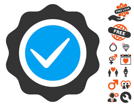 valid: Valid Seal icon with bonus lovely images. Vector illustration style is flat iconic symbols for web design, app user interfaces.