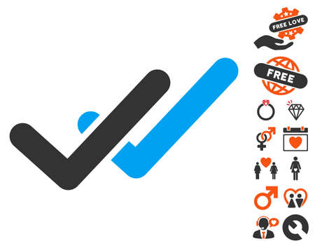 validation: Validation pictograph with bonus decoration design elements. Vector illustration style is flat iconic symbols for web design, app user interfaces.