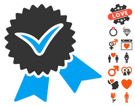 validation: Validation Seal pictograph with bonus valentine images. Vector illustration style is flat iconic elements for web design, app user interfaces.