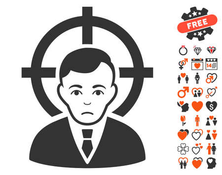 symbol victim: Victim Businessman icon with bonus marriage pictures. Vector illustration style is flat iconic elements for web design, app user interfaces.