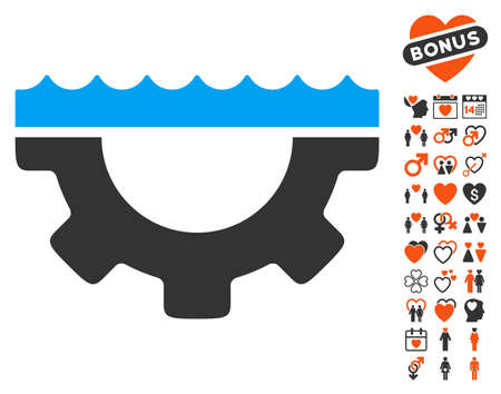 Water Service Gear pictograph with bonus romantic images. Vector illustration style is flat iconic elements for web design, app user interfaces. Illustration