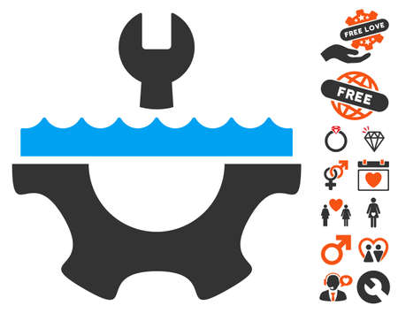 Water Service Gear icon with bonus lovely pictograph collection. Vector illustration style is flat iconic symbols for web design, app user interfaces.