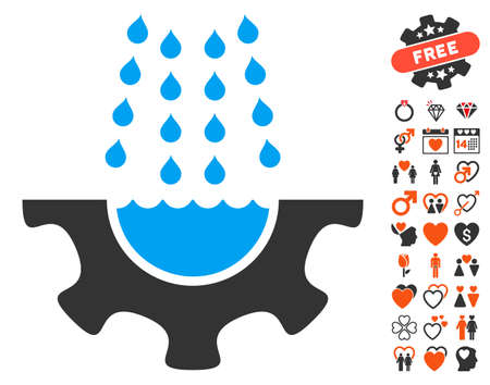 Water Shower Service Gear pictograph with bonus romantic symbols. Vector illustration style is flat iconic elements for web design, app user interfaces.