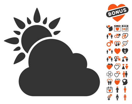 Weather icon with bonus dating clip art. Vector illustration style is flat iconic symbols for web design, app user interfaces.