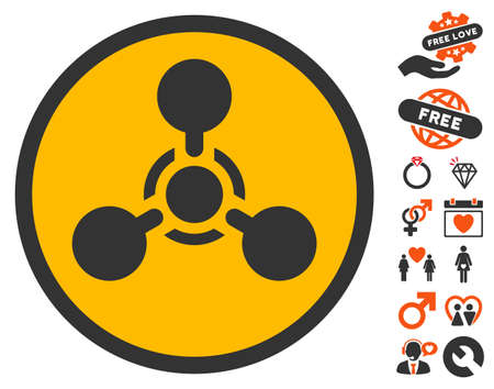 chemical weapon symbol: Wmd Nerve Agent Chemical Warfare icon with bonus marriage design elements. Vector illustration style is flat iconic elements for web design, app user interfaces. Illustration