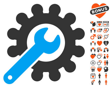 Wrench And Gear Customization Tools icon with bonus lovely pictograms. Vector illustration style is flat iconic symbols for web design, app user interfaces. Illustration