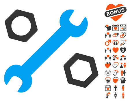 Wrench And Nuts icon with bonus amour symbols. Vector illustration style is flat iconic elements for web design, app user interfaces.