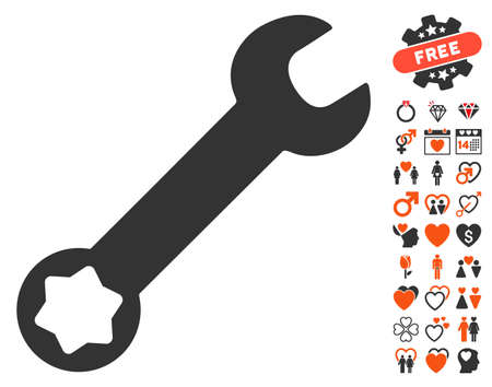 Wrench icon with bonus lovely icon set. Vector illustration style is flat iconic elements for web design, app user interfaces.