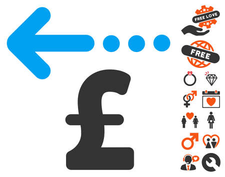 Refund Pound pictograph with bonus dating pictograph collection. Vector illustration style is flat iconic symbols for web design, app user interfaces. Illustration