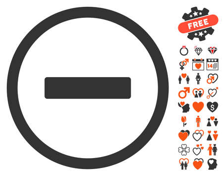 disagree: Remove pictograph with bonus love pictograms. Vector illustration style is flat iconic symbols for web design, app user interfaces.