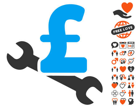 Repair Pound Price pictograph with bonus lovely pictograph collection. Vector illustration style is flat iconic symbols for web design, app user interfaces. Illustration
