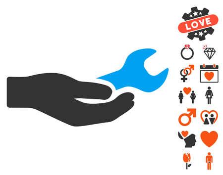 Repair Service icon with bonus love symbols. Vector illustration style is flat iconic symbols for web design, app user interfaces. Illustration