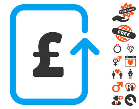 Reverse Pound Transaction icon with bonus decoration symbols. Vector illustration style is flat iconic symbols for web design, app user interfaces. Illustration