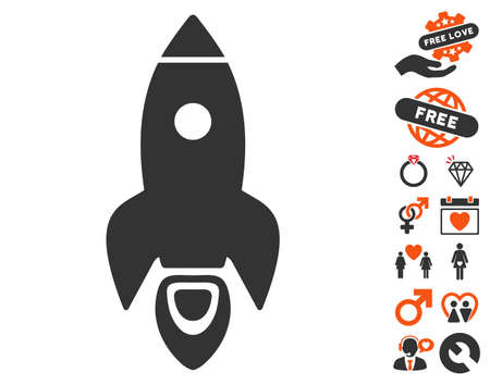 Rocket icon with bonus marriage design elements. Vector illustration style is flat iconic elements for web design, app user interfaces.