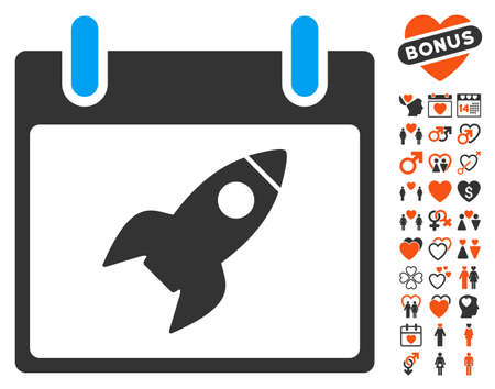 Rocket Calendar Day pictograph with bonus romantic pictures. Vector illustration style is flat iconic elements for web design, app user interfaces. Illustration