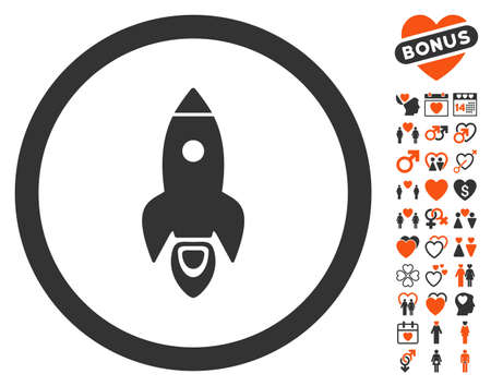 Rocket Start pictograph with bonus decorative icon set. Vector illustration style is flat iconic elements for web design, app user interfaces. Illustration