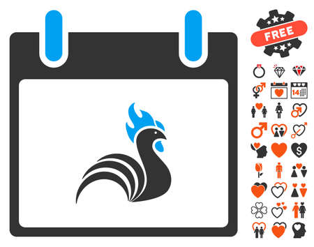 bantam hen: Rooster Calendar Day pictograph with bonus valentine images. Vector illustration style is flat iconic elements for web design, app user interfaces.