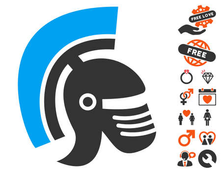 Rome Helmet pictograph with bonus passion design elements. Vector illustration style is flat iconic symbols for web design, app user interfaces.